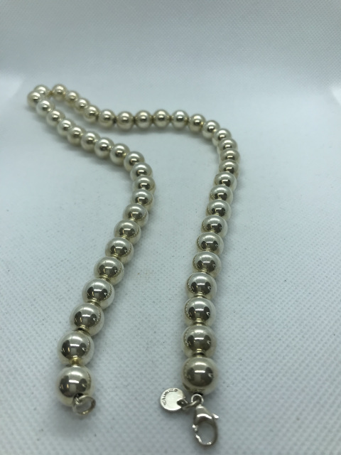 Tiffany Co Sterling Silver 10mm Bead Necklace Chain